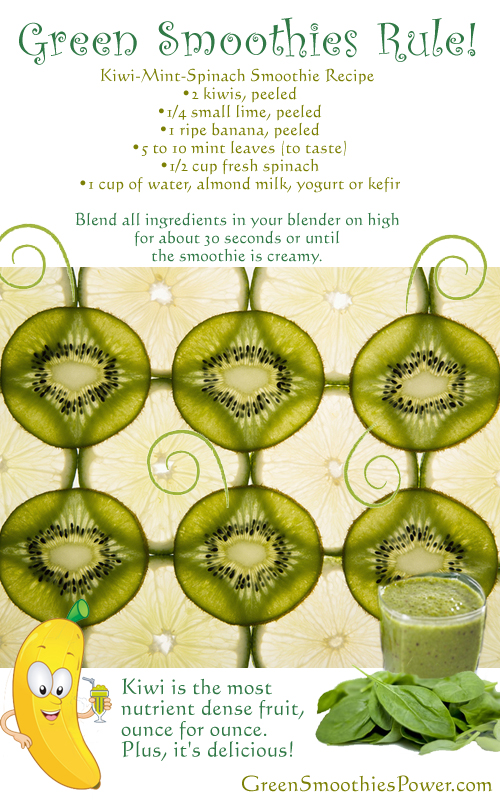 Kiwi--Lime-Mint Green Smoothie Recipe