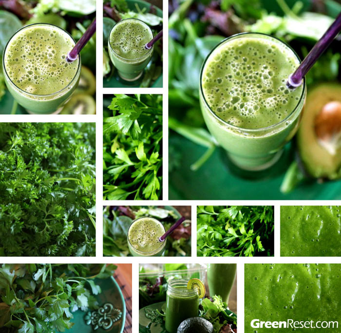 green smoothies with parsley