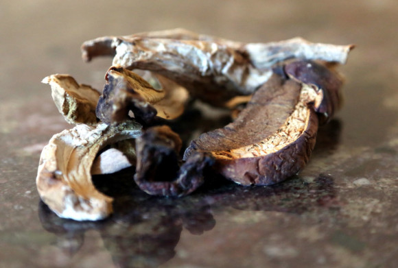 Mushroom-barley soup: dried-boletus