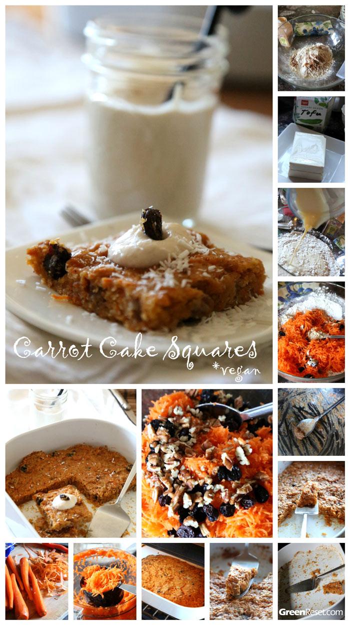 Carrot Cake: Dessert Squares Recipe (Dairy Free, Vegan)