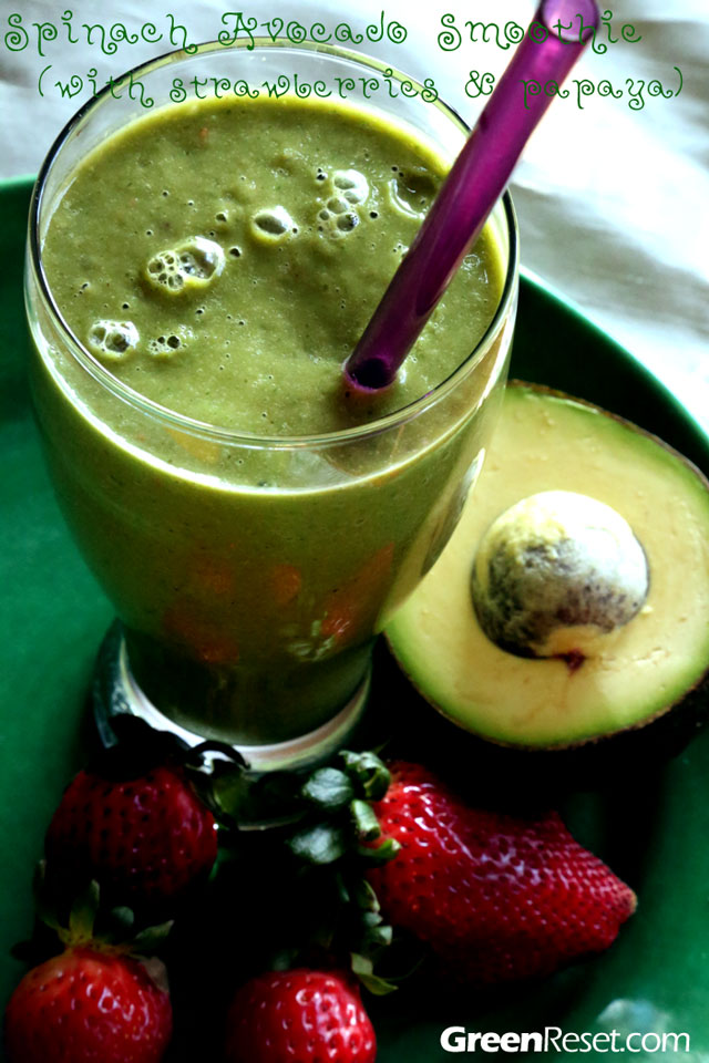 spinach-avocado-strawberry smoothie