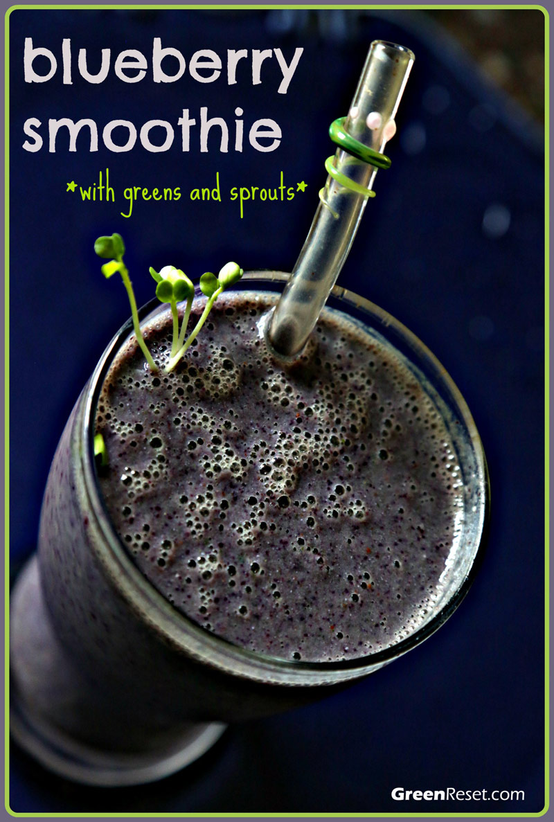 blueberry smoothie recipe (with greens and tofu)